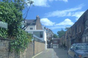 Abercorn Mews boundary to left   Bridget Clarke