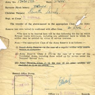Army papers | Brown family