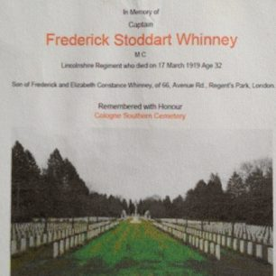 Frederick Whinney's resting place