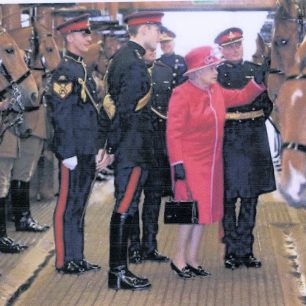 The Queen's Farewell Visit 2011 - with Harlequin whom she gave to the Troop