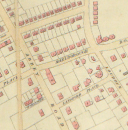 Map of 1846 showing position of house backing on to Marlborough Road gardens   Westminster Archives